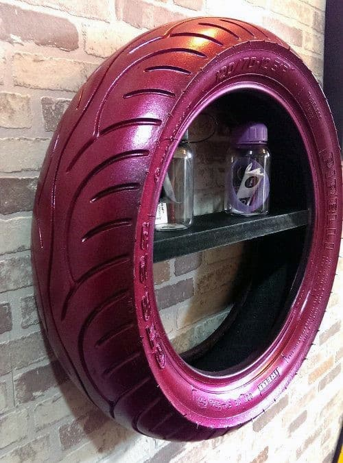 Painted Motorcycle Tire Cheap Man Cave Ideas With Shelf