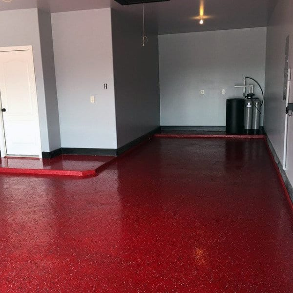Painted Red Garage Epoxy Floor Ideas