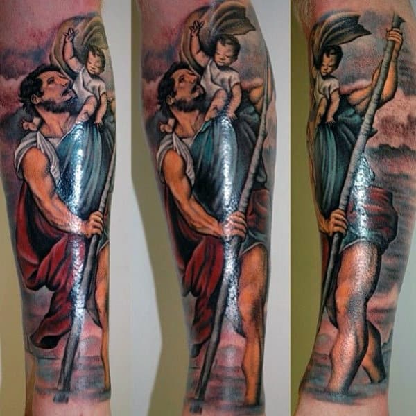 Painted Saint Christopher Mens Forearm Sleeve Tattoo