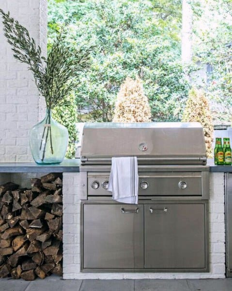 Painted White Brick Unique Built In Grill Home Ideas