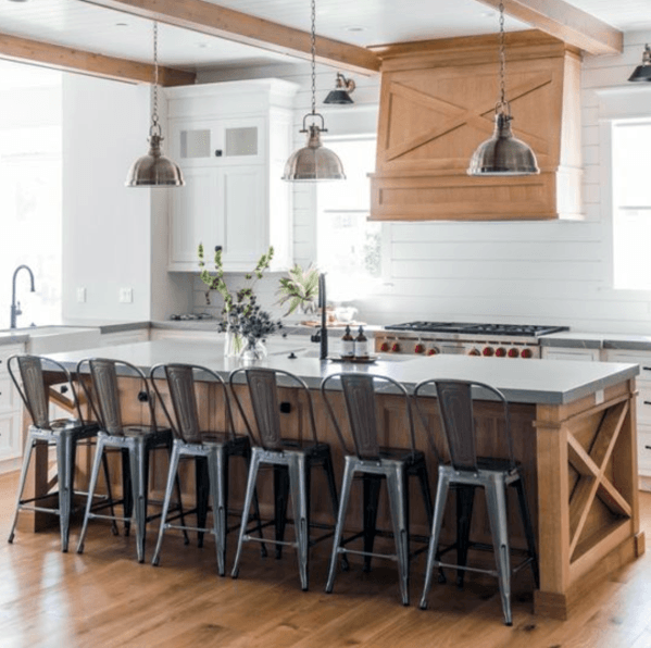 Painted White Home Kitchen Designs Wood Backsplash