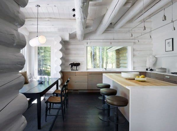 Painted White Log Cabin Rustic Ceiling Interior Design
