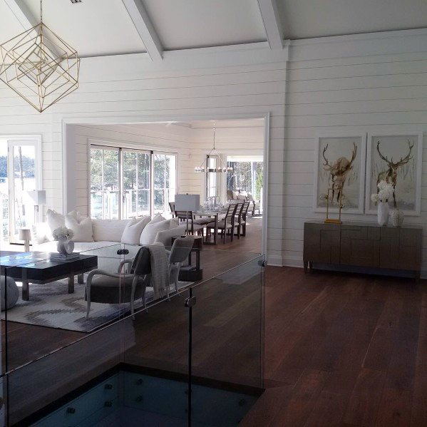 Painted White Shiplap Wood Wall Design Idea Inspiration
