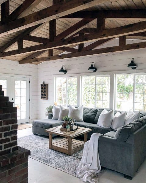 Painted White Shiplap Wood Wall Living Room Ideas