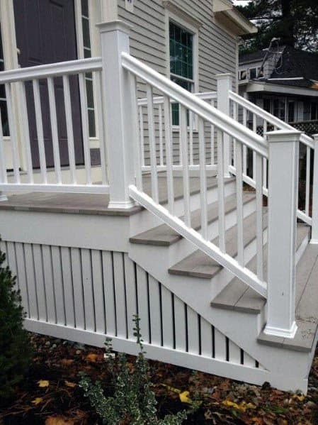 Painted White Vertical Wood Slats Backyard Ideas Deck Skirting