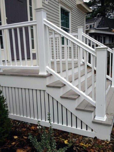 Painted White Vertical Wood Slats Backyard Ideas Deck Skirting