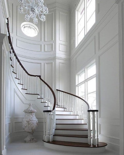 Painted White Wainscoting On Stairs Ideas