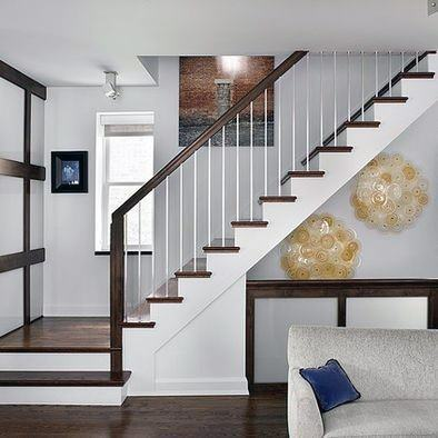 Painted White Wood Basement Stairs
