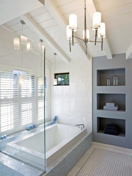 Painted White Wood Board Bathroom Ceiling Ideas