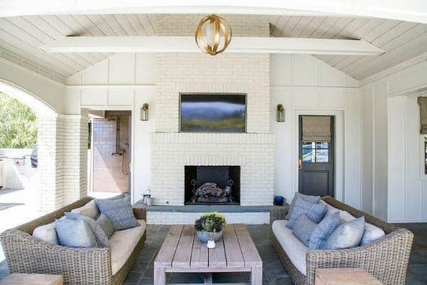 Painted White Wood Boards Ideas For Home Patio Ceiling