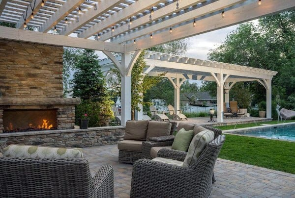 Painted White Wood Outdoor Backyard Pavilion