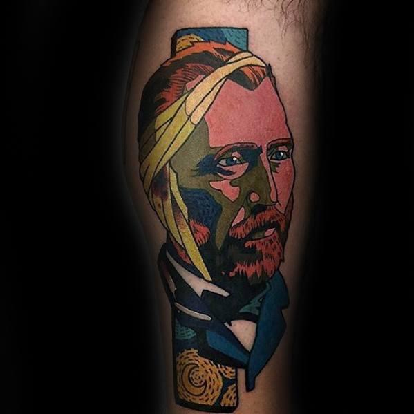 Painter Portrait Guys Artsy Leg Tattoos