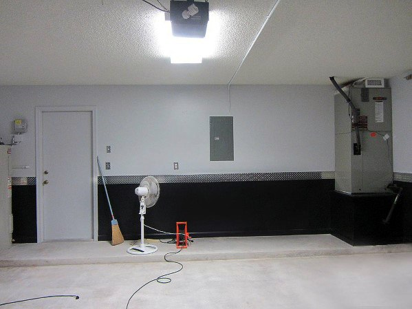 Painting Garage Wals Design Ideas Black With Diamond Plate Divider In Middle