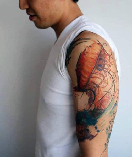 Painting Of Orange Jellyfish Tattoo Male Upper Arms