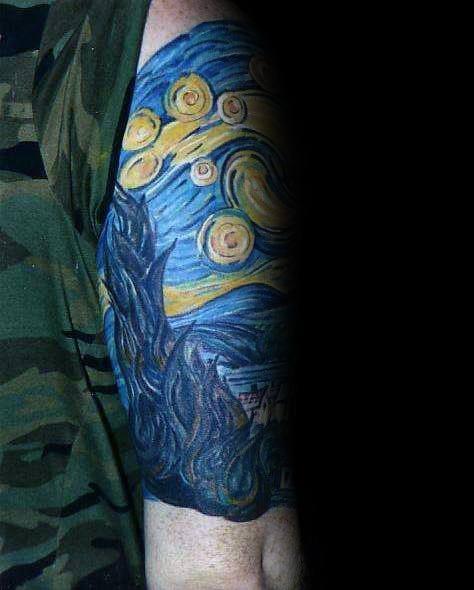 Painting Of Vincent Van Gogh Mens Arm Sleeve Tattoo