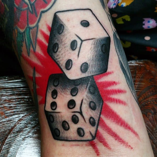 Pair Of Dice With Red Bang Tattoo For Men On Inner Arm