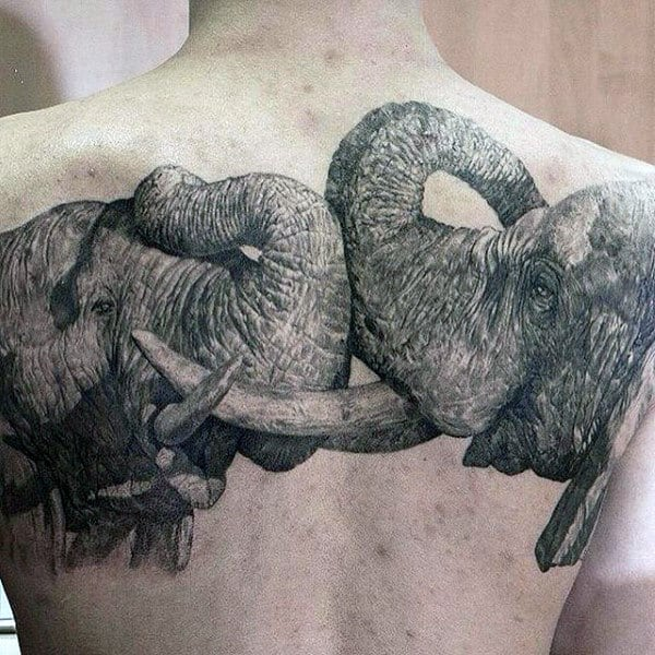 Pair Of Elephants In Embrace Tattoo Males Back