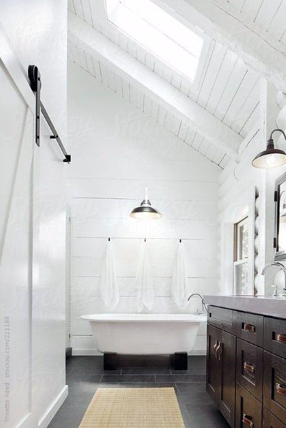 Paitned White Rustic Cool Bathrooms Ideas