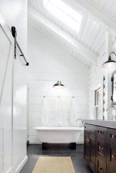 Paitned White Rustic Cool Bathrooms Ideas