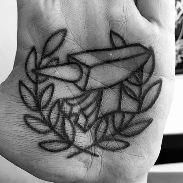 Palm Anvil Laurel Wreath Tattoos Guys With Black Ink Outline Design