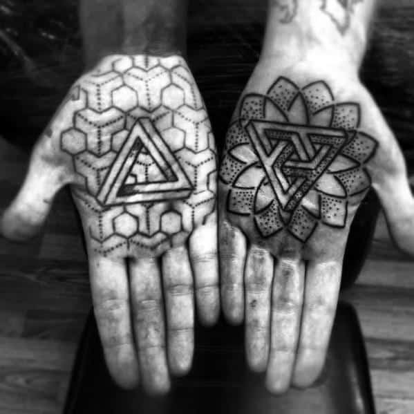 Palm Dotwork Geometric Penrose Triangle Tattoo Ideas On Guys