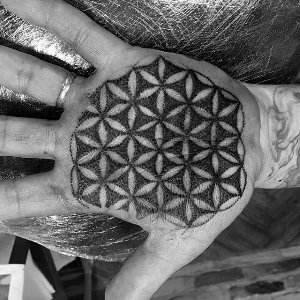 Palm Flower Of Life Tattoo For Men