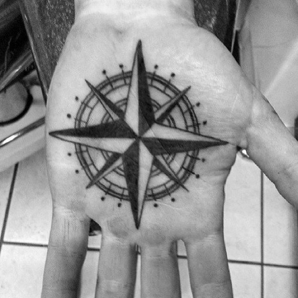 Palm Nautical Star Tattoos For Men