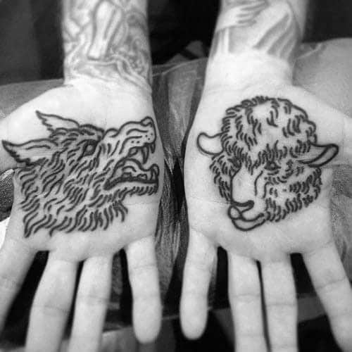 Palm Of Hand Sheep Tattoos Male