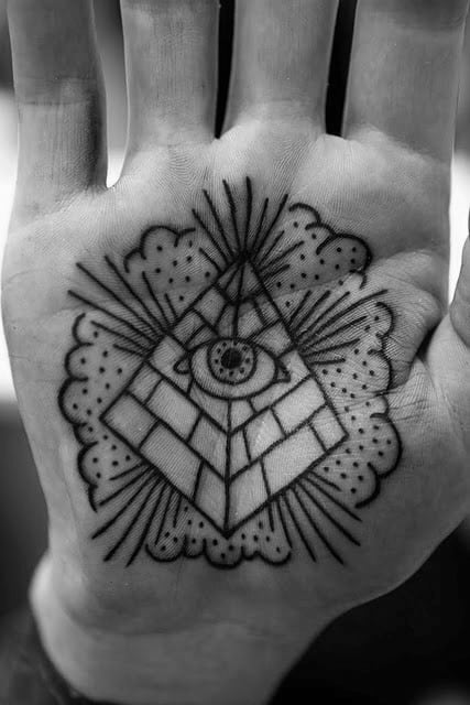 Palm Pyramid With Eye Traditional Mens Old School Hand Tattoo Ideas