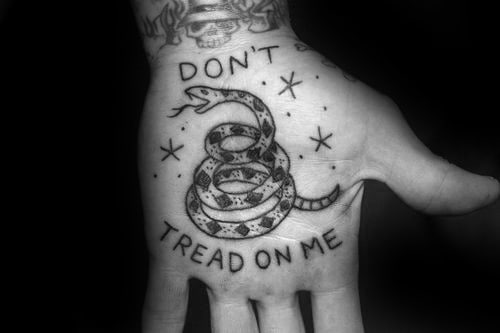 Palm Rattlesnake Dont Tread On Me Male Tattoos