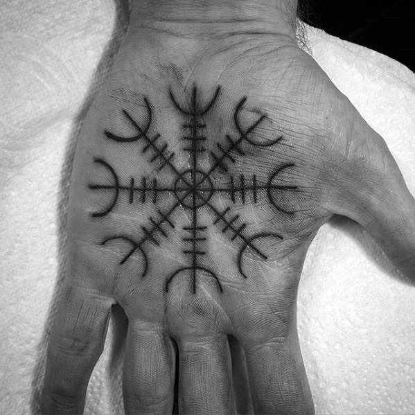 Palm Remarkable Helm Of Awe Tattoos For Males