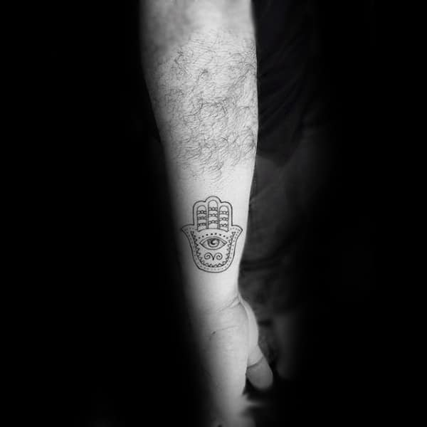 Palm Shaped Mens Hamsa Hand Small Outer Forearm Tattoo Design Ideas