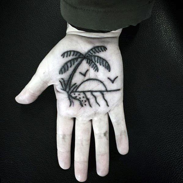 Palm Simple Traditional Beach Mens Tattoos