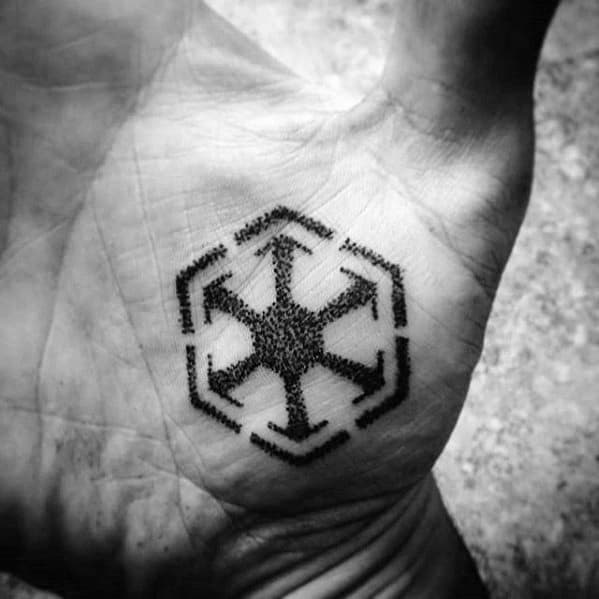 Palm Small Dotwork Sith Mens Symbol Tattoo Ideas