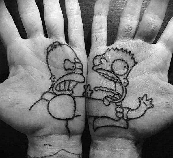 Palm The Simpsons Cartoon Guys Tattoos