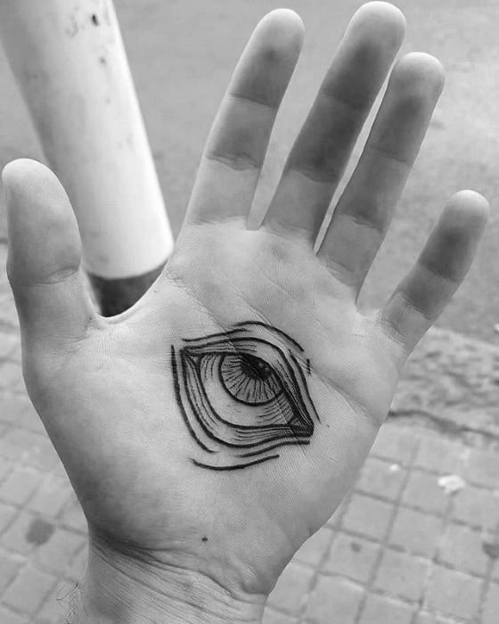Palm Traditional Eye Mens Black Ink Hand Tattoo