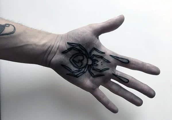 Palm Traditional Spider Mens Black Ink Outline Tattoo Design Ideas