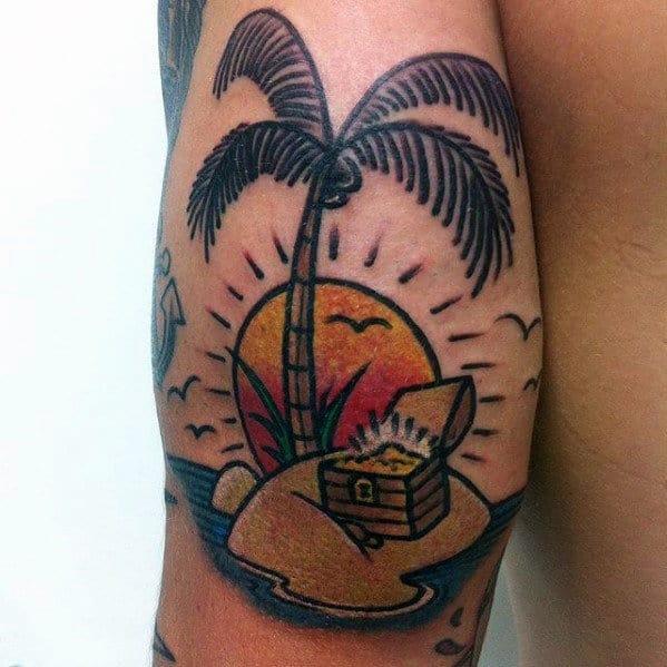 Palm Tree Beach Scene With Treasure Chest Mens Tricep Tattoo