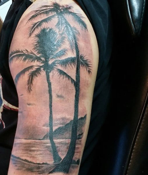 Palm Tree Black Ink Mens Beach Arm Tattoo