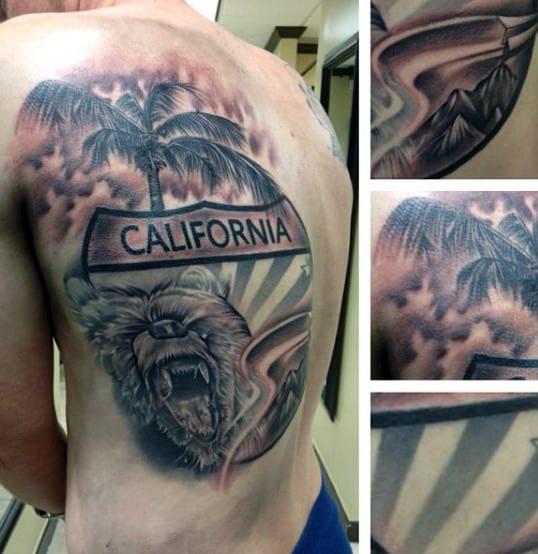 Palm Tree California Bear Mens Back Tattoos
