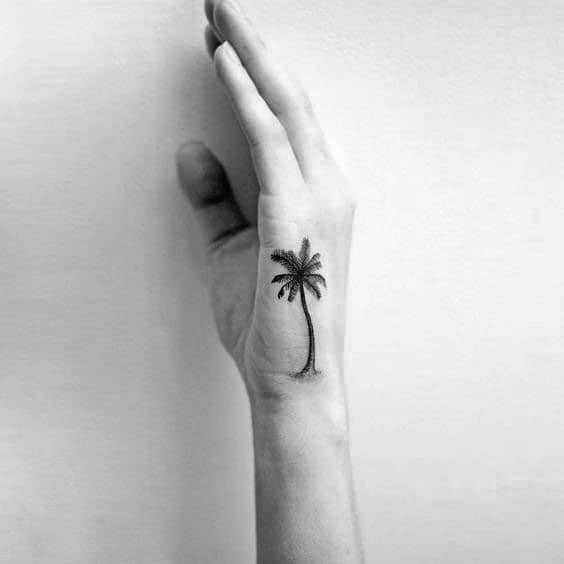 Palm Tree Manly Side Hand Tattoo Design Ideas For Men