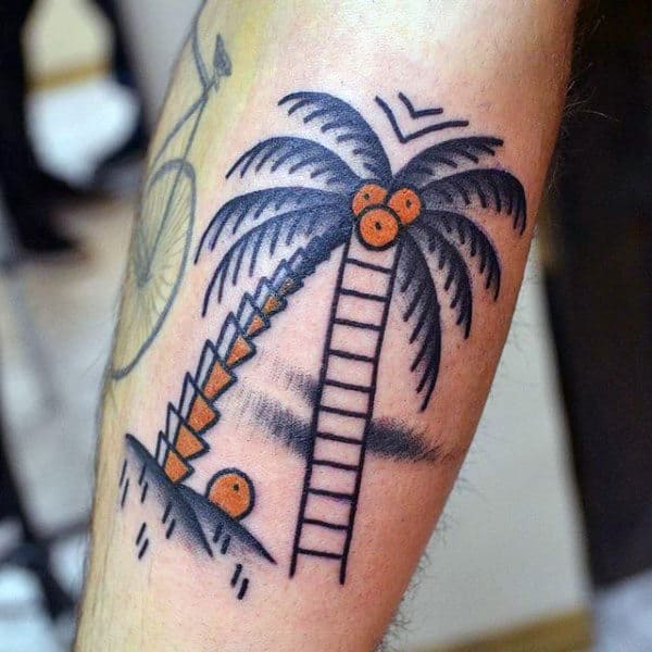 Palm Tree With Orange Fruit Tattoo On Legs For Men