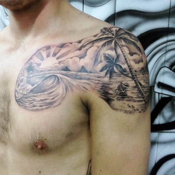Palm Trees And Beach Tattoos For Guys On Shoulder