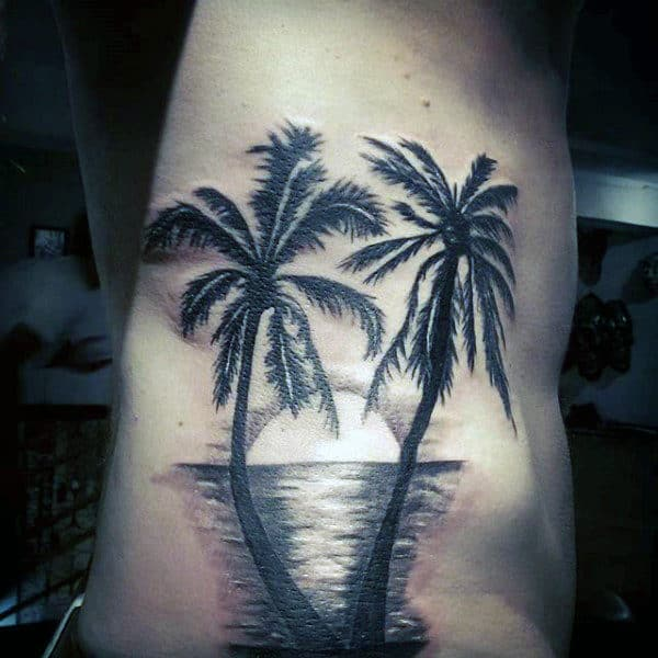 100 palm tree tattoos for men tropical design ideas for Beach sunset tattoos