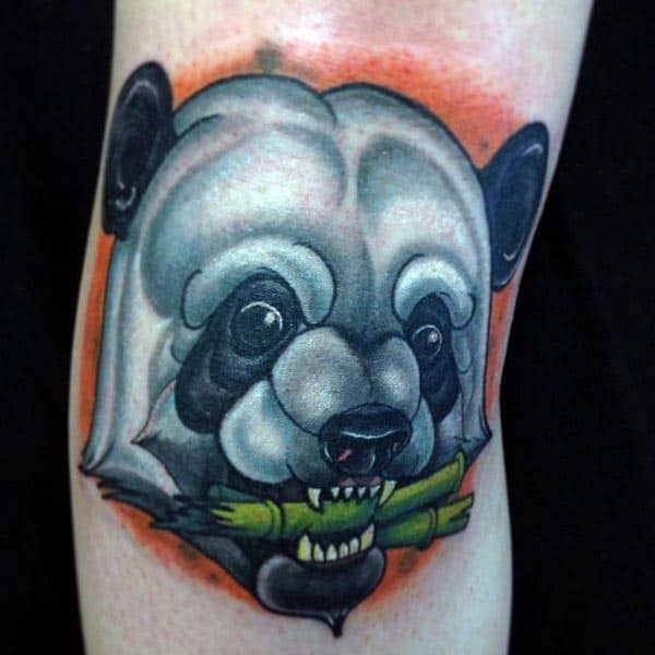 Panada Chewing On Bamboo Mens New School Tattoo On Arm