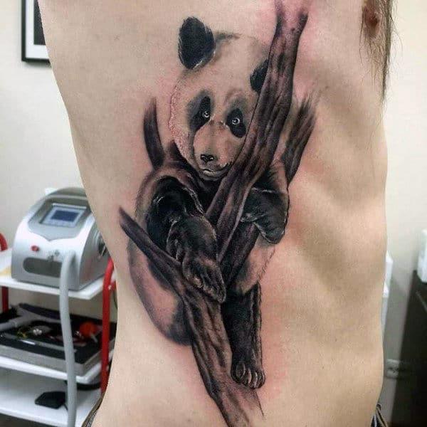Panda Bear In Tree Mens Rib Cage Side Tattoo Ideas