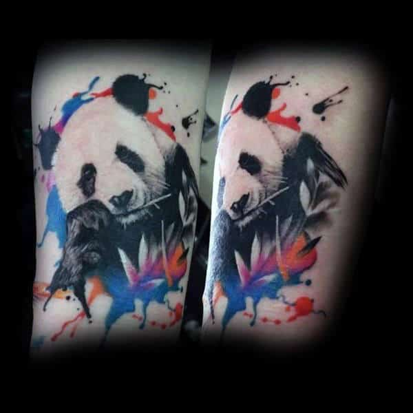 Panda Bear With Watercolor Leaves Mens Forearm Tattoos
