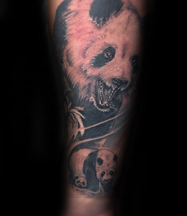 Panda Bears Mens Forearm Sleeve Tattoo Ideas