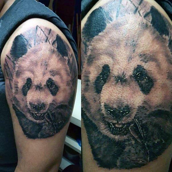 Panda Chewing On Plant Mens Upper Arm Tattoos