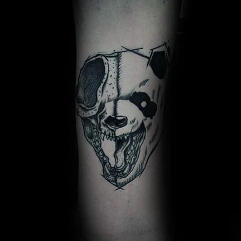 Panda Half Skull Mens Forearm Tattoos